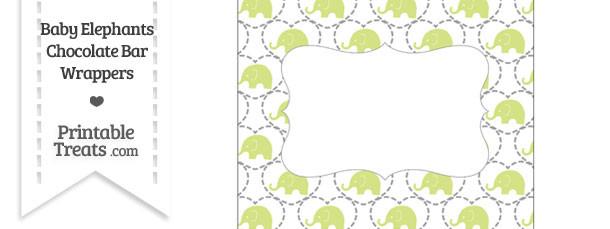 Yellow Green Baby Elephants Chocolate Bar Wrappers