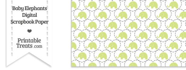 Yellow Green Baby Elephants Digital Scrapbook Paper