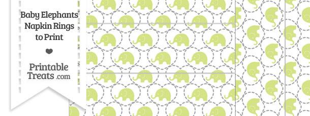 Yellow Green Baby Elephants Napkin Rings