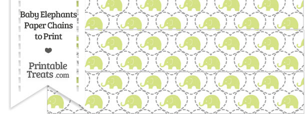 Yellow Green Baby Elephants Paper Chains