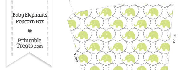 Yellow Green Baby Elephants Popcorn Box