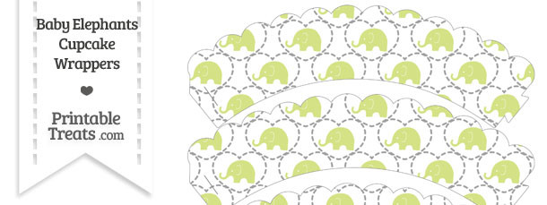 Yellow Green Baby Elephants Scalloped Cupcake Wrappers