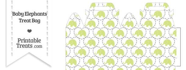 Yellow Green Baby Elephants Treat Bag