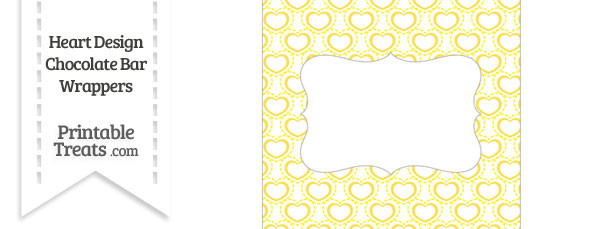 Yellow Heart Design Chocolate Bar Wrappers
