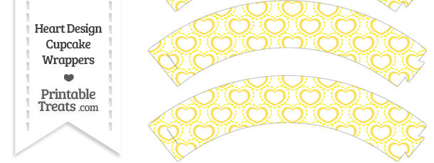 Yellow Heart Design Cupcake Wrappers
