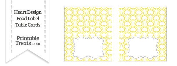 Yellow Heart Design Food Labels