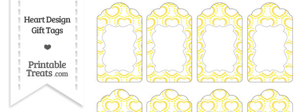 Yellow Heart Design Gift Tags