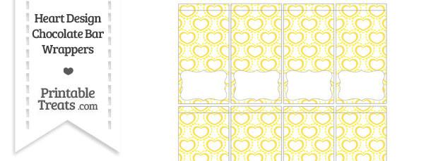 Yellow Heart Design Mini Chocolate Bar Wrappers