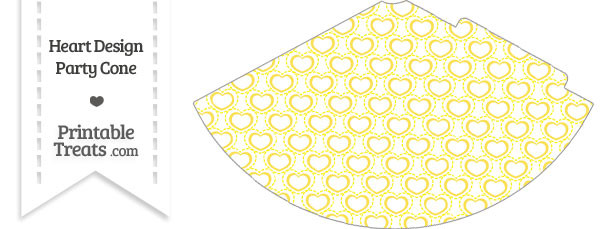 Yellow Heart Design Party Cone