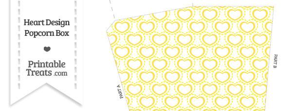 Yellow Heart Design Popcorn Box