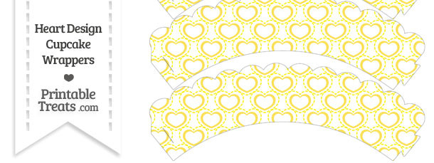 Yellow Heart Design Scalloped Cupcake Wrappers