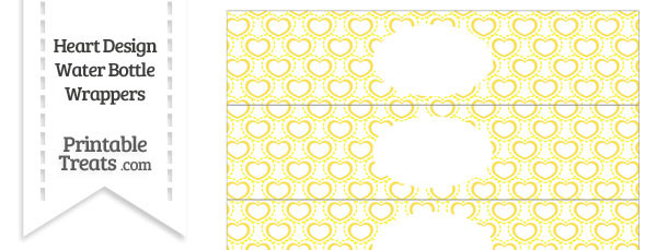 Yellow Heart Design Water Bottle Wrappers