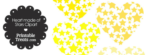 Yellow Heart Made of Stars Clipart