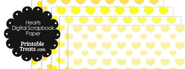 Yellow Hearts Digital Scrapbook Paper