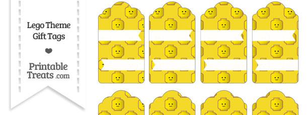 Yellow Lego Theme Gift Tags