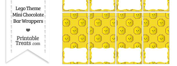Yellow Lego Theme Mini Chocolate Bar Wrappers