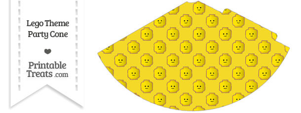 Yellow Lego Theme Party Cone