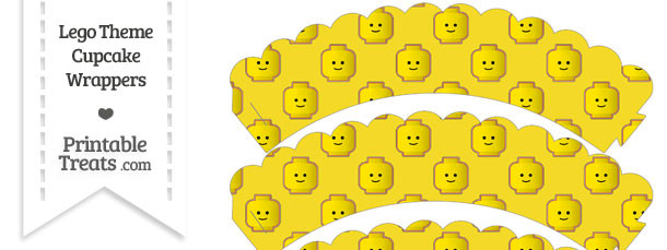 Yellow Lego Theme Scalloped Cupcake Wrappers