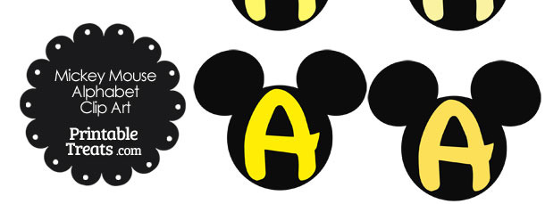 Yellow Mickey Mouse Head Letter A Clipart