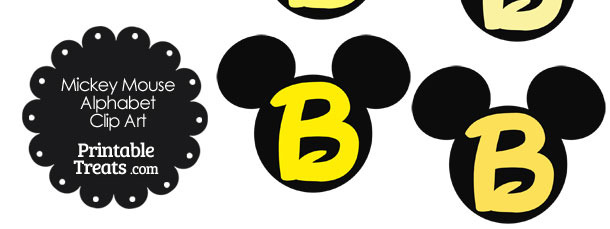 Yellow Mickey Mouse Head Letter B Clipart