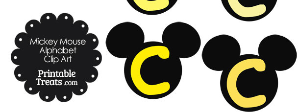Yellow Mickey Mouse Head Letter C Clipart
