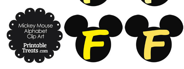 Yellow Mickey Mouse Head Letter F Clipart