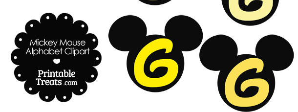 Yellow Mickey Mouse Head Letter G Clipart