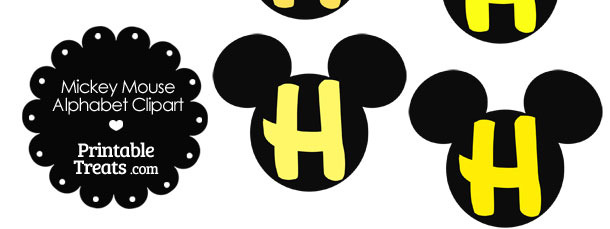 Yellow Mickey Mouse Head Letter H Clipart