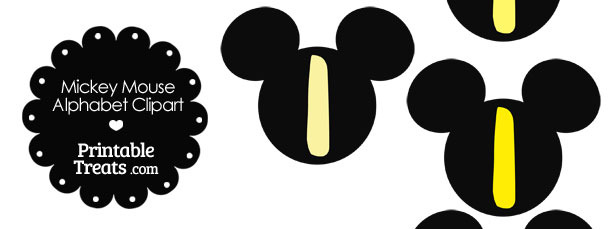 Yellow Mickey Mouse Head Letter I Clipart
