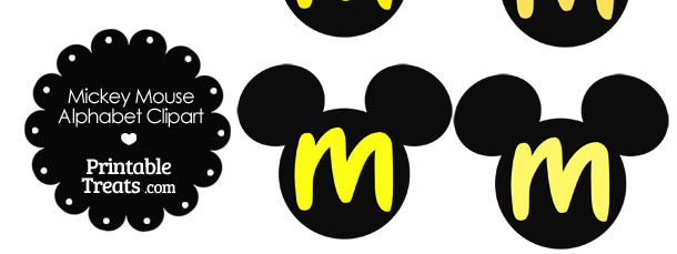 Yellow Mickey Mouse Head Letter M Clipart