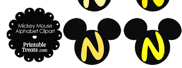 Yellow Mickey Mouse Head Letter N Clipart
