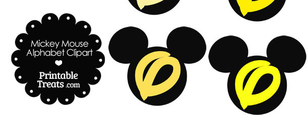 Yellow Mickey Mouse Head Letter O Clipart