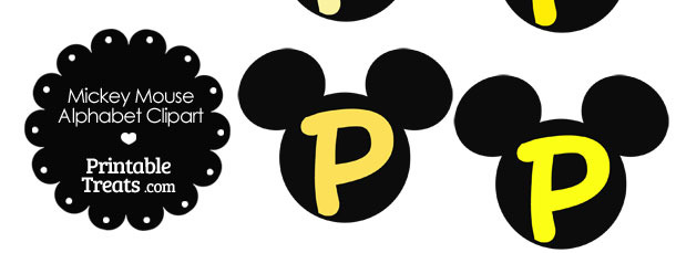 Yellow Mickey Mouse Head Letter P Clipart