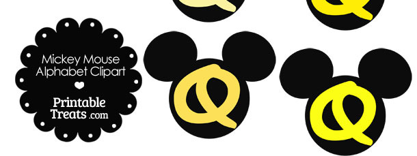 Yellow Mickey Mouse Head Letter Q Clipart