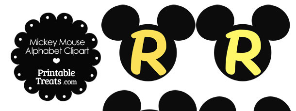 Yellow Mickey Mouse Head Letter R Clipart