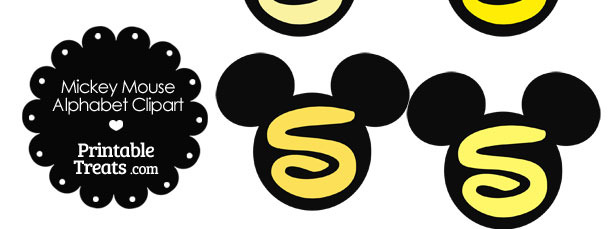 Yellow Mickey Mouse Head Letter S Clipart