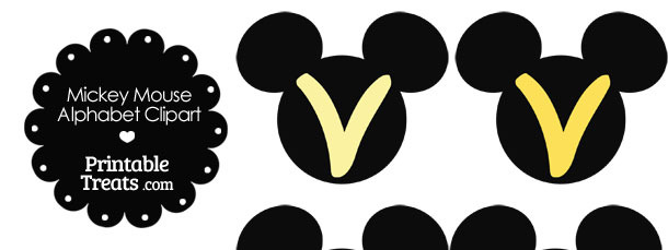 Yellow Mickey Mouse Head Letter V Clipart