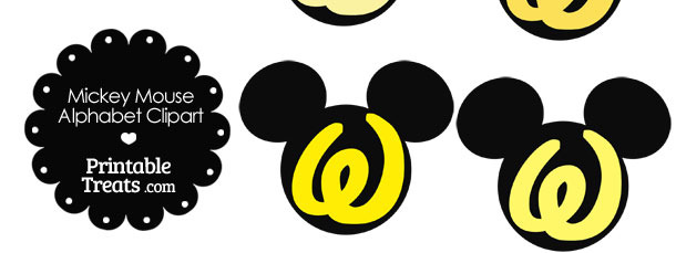 Yellow Mickey Mouse Head Letter W Clipart