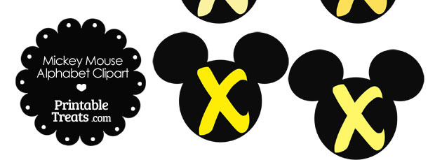 Yellow Mickey Mouse Head Letter X Clipart