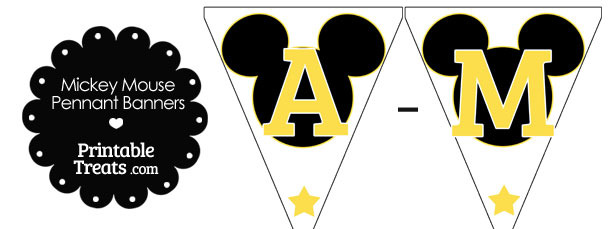 Yellow Mickey Mouse Pennant Banner Letters A-M