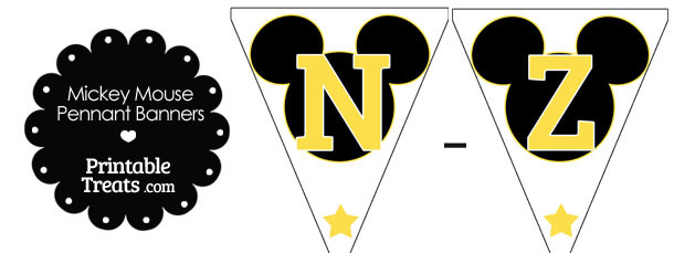 Yellow Mickey Mouse Pennant Banner Letters N-Z