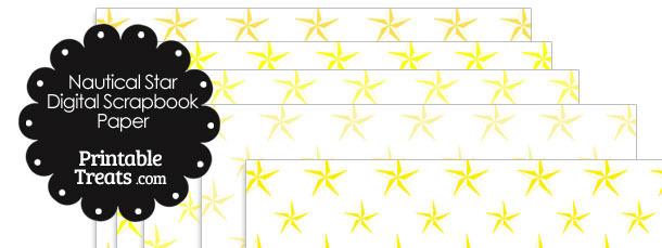 Yellow Nautical Star Digital Scrapbook Paper