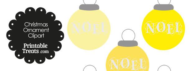 Yellow Noel Christmas Ornament Clipart