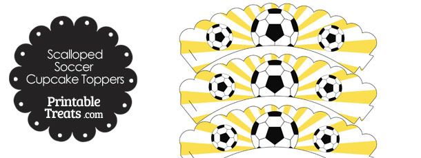 Yellow Scalloped Sunburst Soccer Cupcake Wrappers