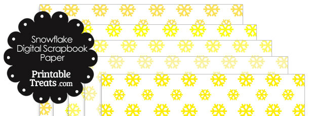 Yellow Snowflake Digital Scrapbook Paper