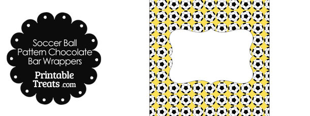 Yellow Soccer Ball Pattern Chocolate Bar Wrappers