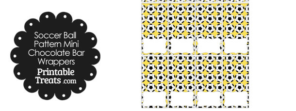 Yellow Soccer Ball Pattern Mini Chocolate Bar Wrappers
