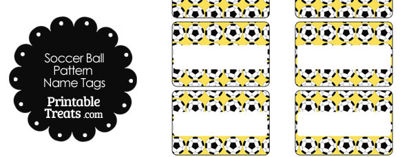 Yellow Soccer Ball Pattern Name Tags