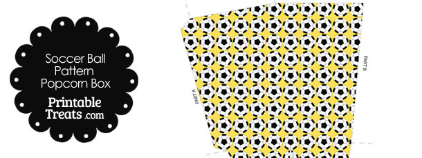 Yellow Soccer Ball Pattern Popcorn Box