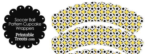 Yellow Soccer Ball Pattern Scalloped Cupcake Wrappers